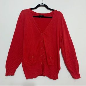 Lane Bryant Red V-Neck Button Front Cardigan